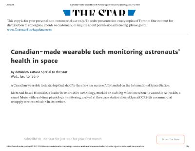Canadian-made wearable tech monitoring astronauts' health in space