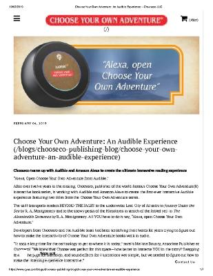 Choose Your Own Adventure: An Audible Experience
