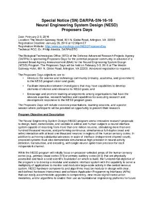 Special Notice (SN) DARPA-SN-16-16 Neural Engineering System Design (NESD) Proposers Days