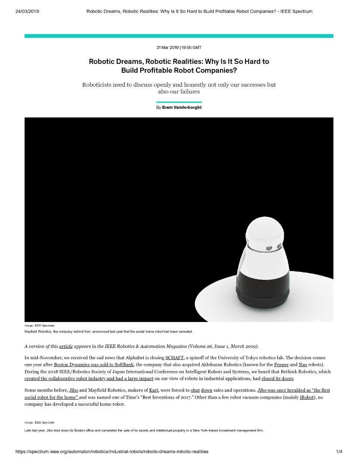 Robotic Dreams, Robotic Realities: Why Is It So Hard to Build Profitable Robot Companies?