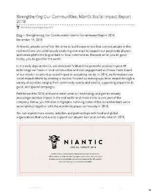 Strengthening Our Communities: Niantic Social Impact Report 2018