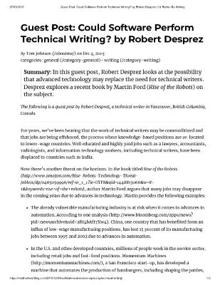 Guest Post: Could Software Perform Technical Writing?