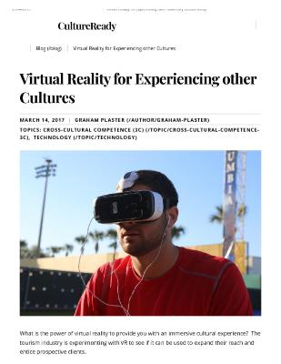 Virtual Reality for Experiencing other Cultures