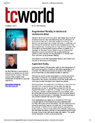 Augmented Reality in Technical Communication