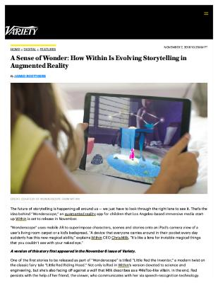 A Sense of Wonder: How Within Is Evolving Storytelling in Augmented Reality