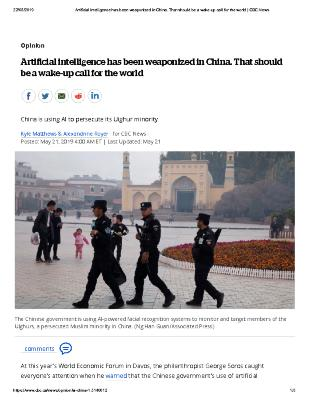 Artificial intelligence has been weaponized in China. That should be a wake-up call for the world