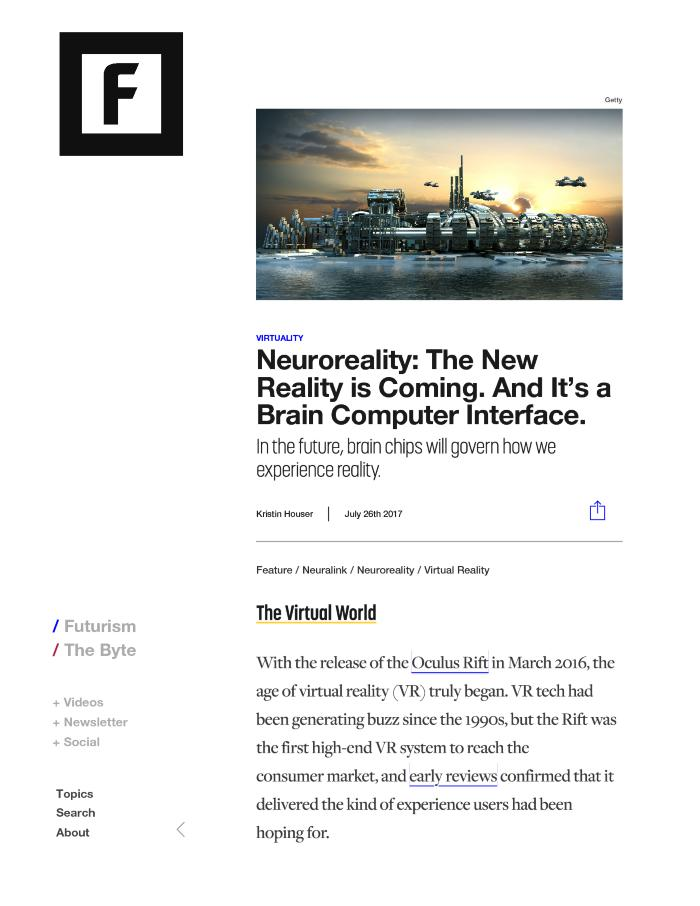 Neuroreality: The New Reality is Coming. And It's a Brain Computer Interface.