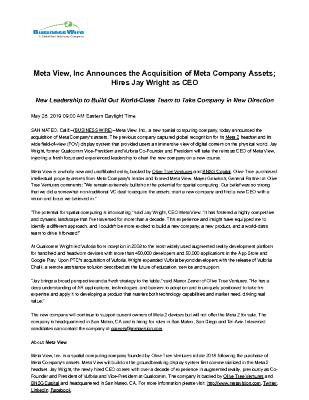 Meta View, Inc Announces the Acquisition of Meta Company Assets; Hires Jay Wright as CEO