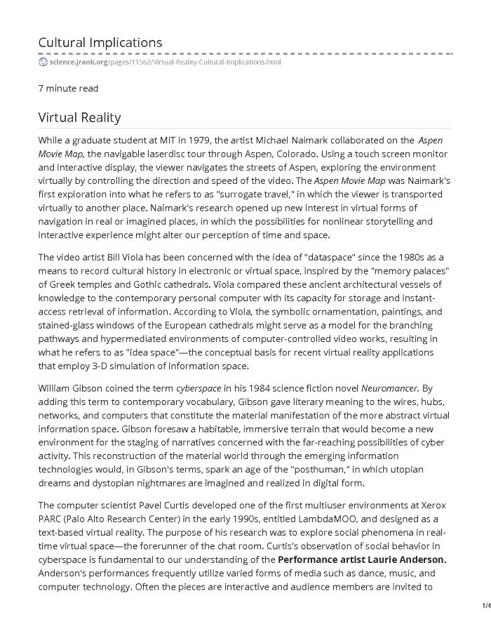Virtual Reality- Cultural Implications