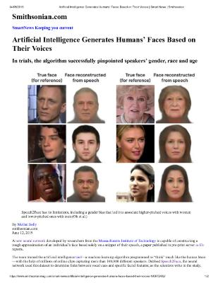 Artificial Intelligence Generates Humans' Faces Based on Their Voices