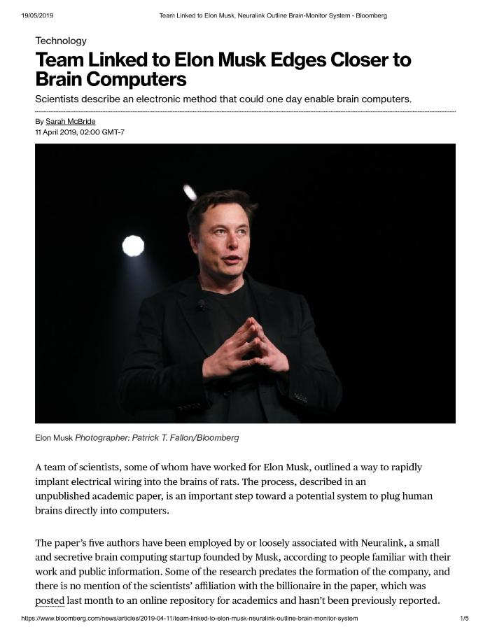 Team Linked to Elon Musk Edges Closer to Brain Computers