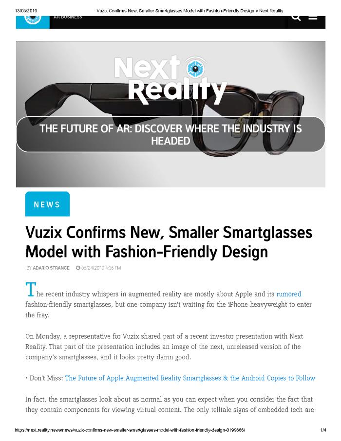 Vuzix Confirms New, Smaller Smartglasses Model with Fashion-Friendly Design