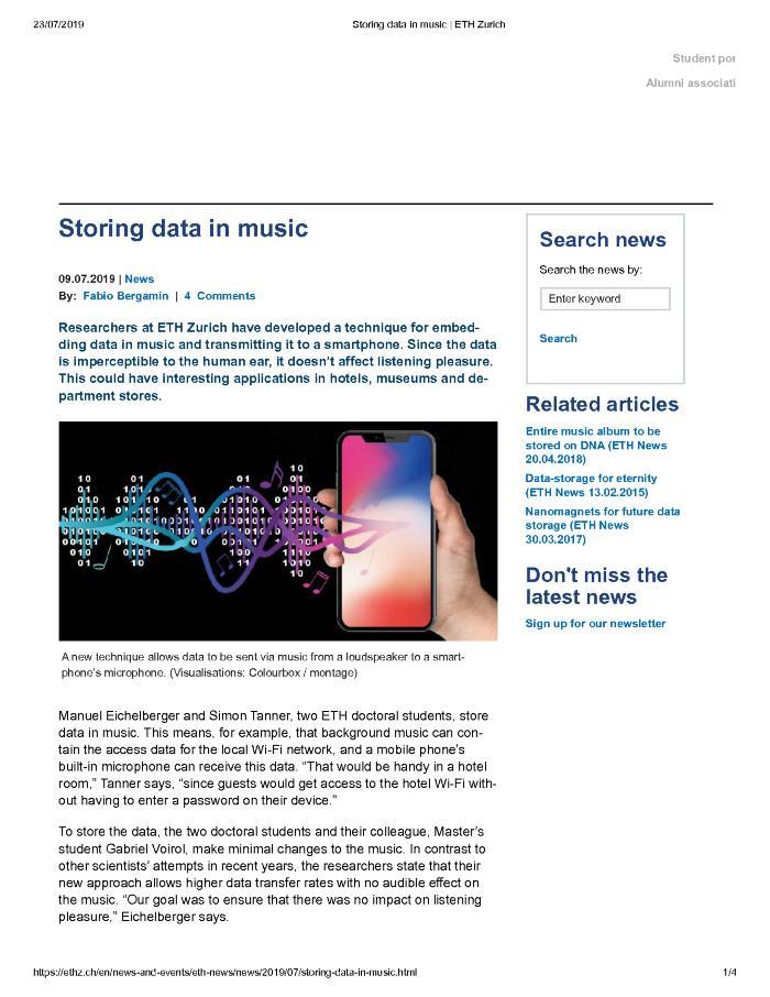 Storing data in music