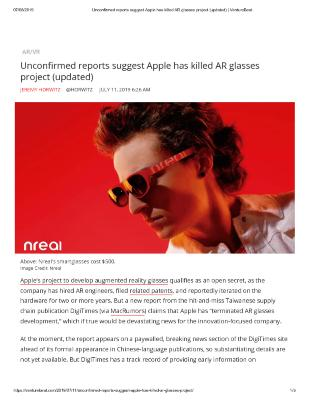 Unconfirmed reports suggest Apple has killed AR glasses project (updated)