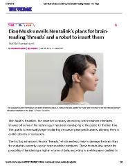 Elon Musk unveils Neuralink's plans for brain-reading 'threads' and a robot to insert them