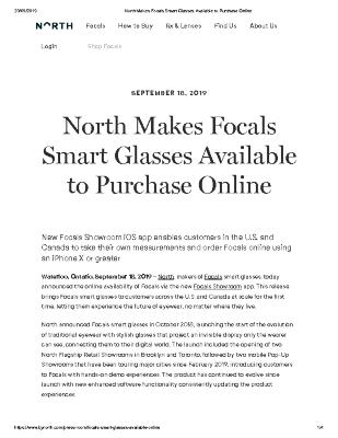 North Makes Focals Smart Glasses Available to Purchase Online