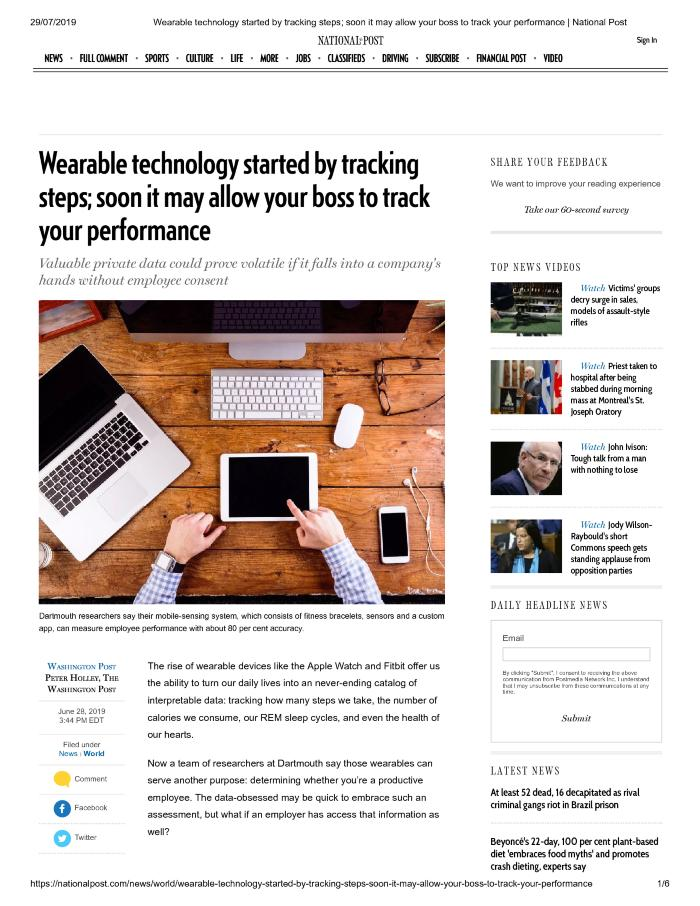 Wearable technology started by tracking steps; soon it may allow your boss to track your performance