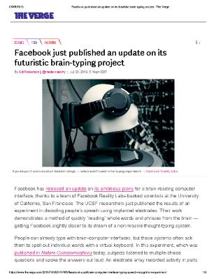 Facebook just published an update on its futuristic brain-typing project