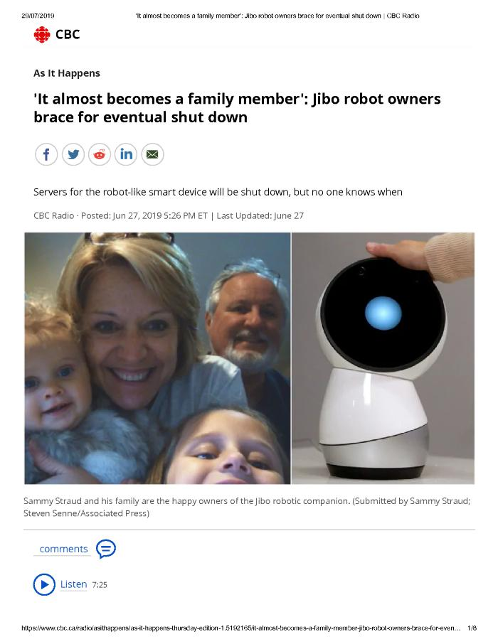'It almost becomes a family member': Jibo robot owners brace for eventual shut down