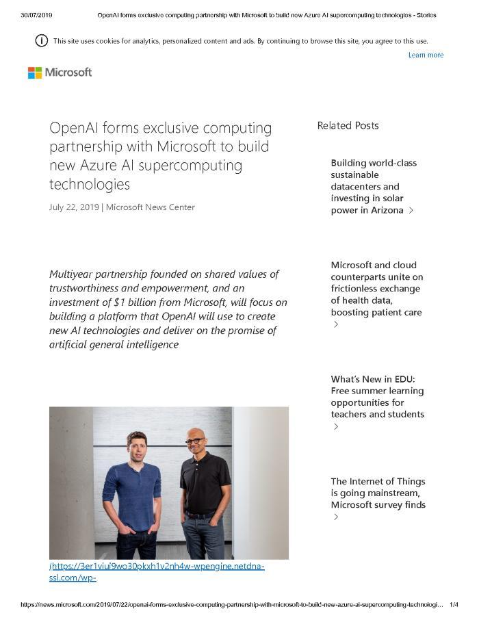OpenAI forms exclusive computing partnership with Microsoft to build new Azure AI supercomputing technologies