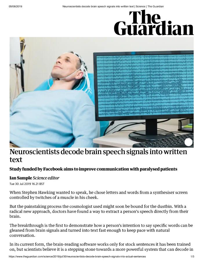 Neuroscientists decode brain speech signals into written text