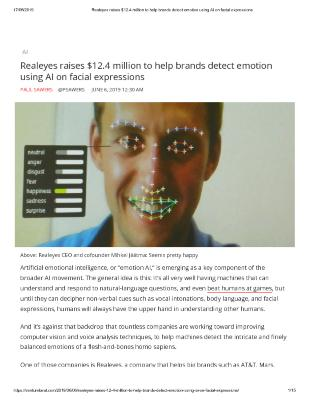 Realeyes raises $12.4 million to help brands detect emotion using AI on facial expressions
