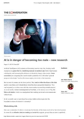 AI is in danger of becoming too male – new research