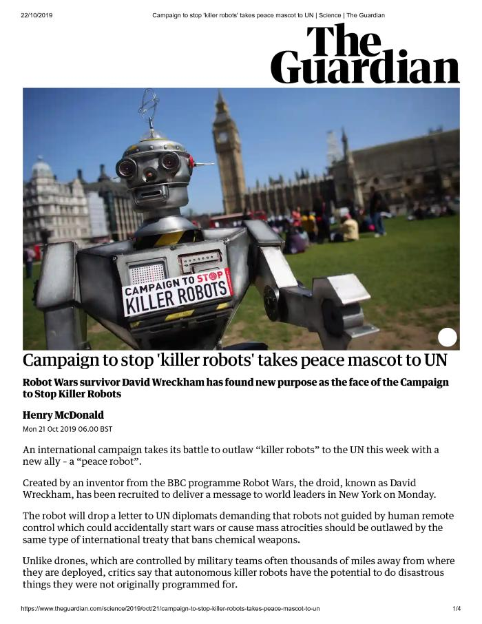 Campaign to stop 'killer robots' takes peace mascot to UN