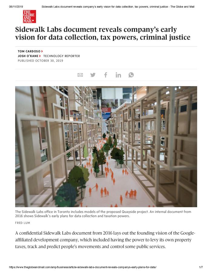 Sidewalk Labs document reveals company's early vision for data collection, tax powers, criminal justice