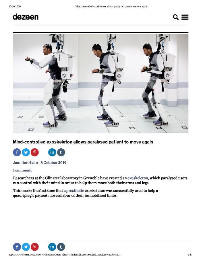 Mind-controlled exoskeleton allows paralysed patient to move again