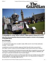 Campaign to stop 'killer robots' takes peace mascot to UN