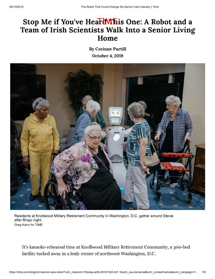 Stop Me if You've Heard This One: A Robot and a Team of Irish Scientists Walk Into a Senior Living Home