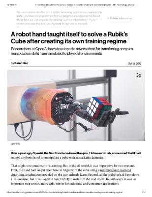 A robot hand taught itself to solve a Rubik's Cube after creating its own training regime