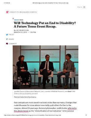 Will Technology Put an End to Disability? A Future Tense Event Recap.