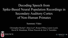 Decoding speech from spike-based neural population recordings in secondary auditory cortex of non-human primates - summary video