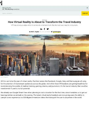 How Virtual Reality is About to Tranform the Travel Industry