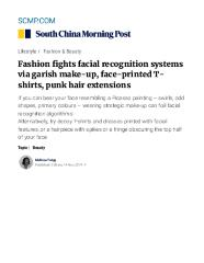 Fashion fights facial recognition systems, via garish make-up, face-printed T-shirts, punk hair extensions