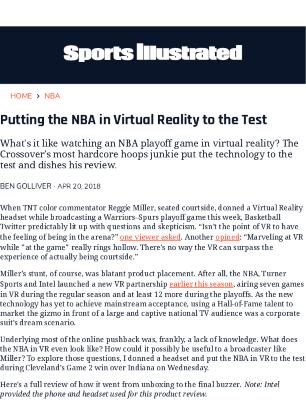 Putting the NBA in Virtual Reality to the Test