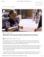 Wearable Tech Improves Police Awareness and Safety