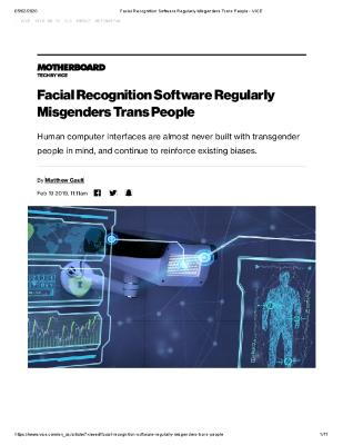 Facial Recognition Software Regularly Misgenders Trans People