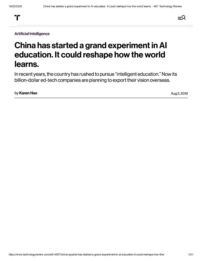 China has started a grand experiment in AI education. It could reshape how the world learns.