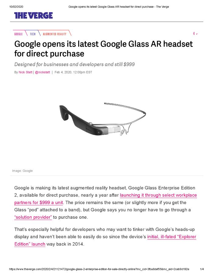 Google opens its latest Google Glass AR headset for direct purchase