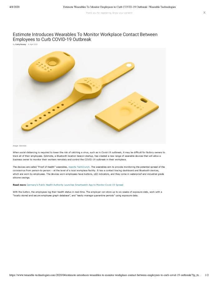 Estimote Introduces Wearables To Monitor Workplace Contact Between Employees to Curb COVID-19 Outbreak