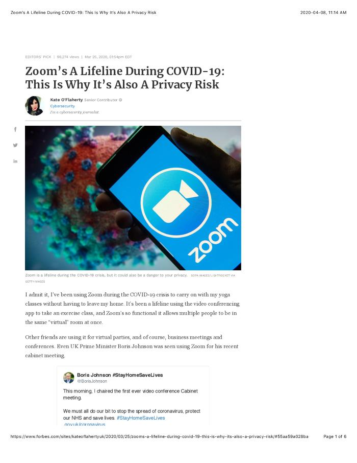 Zoom's A Lifeline During COVID-19: This Is Why It's Also A Privacy Risk