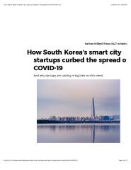 How South Korea's smart city startups, curbed the spread of COVID-19