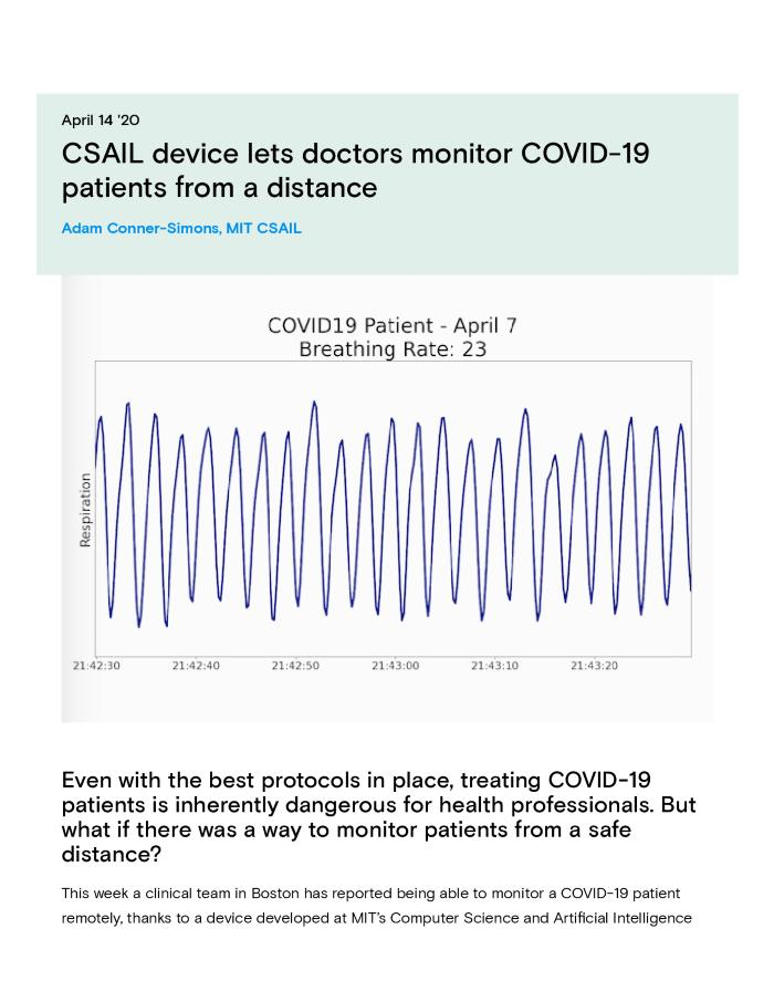 CSAIL device lets doctors monitor COVID-19 patients from a distance