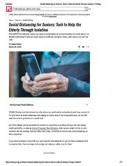 Social Distancing for Seniors: Tech to Help the Elderly Through Isolation
