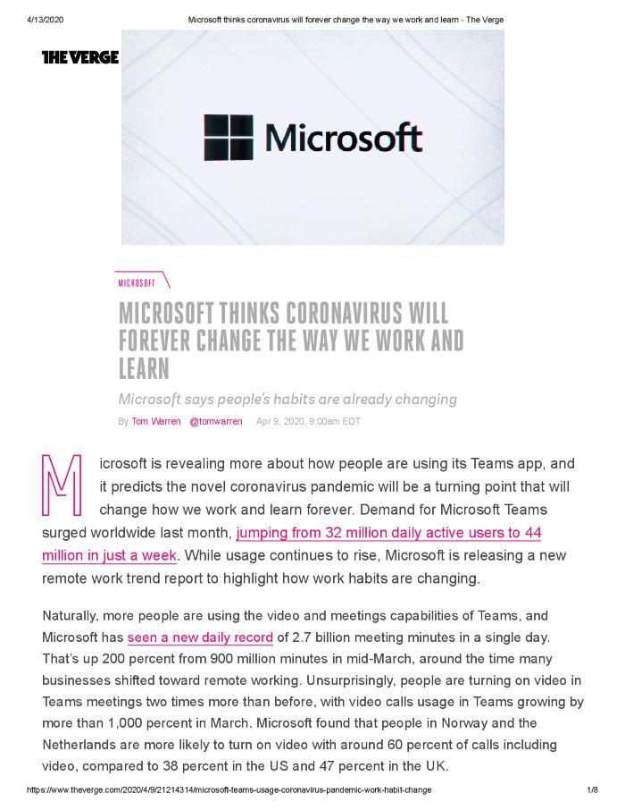 Microsoft thinks Coronavirus will forever change the way we work and live