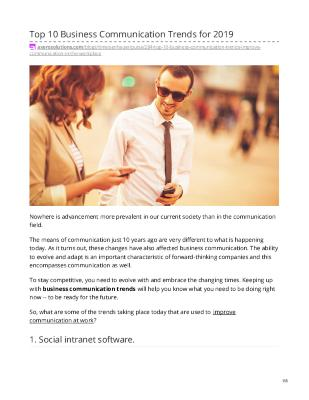 Top 10 Business Communication Trends - Improve Communication in the Workplace