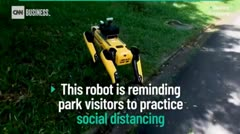 Watch this robot patrol a park to encourage social distancing